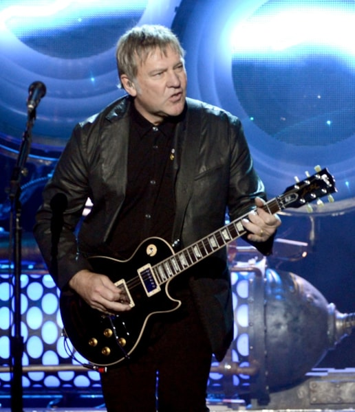 LOS ANGELES, CA - APRIL 18:  Inductee Alex Lifeson of Rush performs onstage at the 28th Annual Rock and Roll Hall of Fame Induction Ceremony at Nokia Theatre L.A. Live on April 18, 2013 in Los Angeles, California.  (Photo by Kevin Winter/Getty Images)
