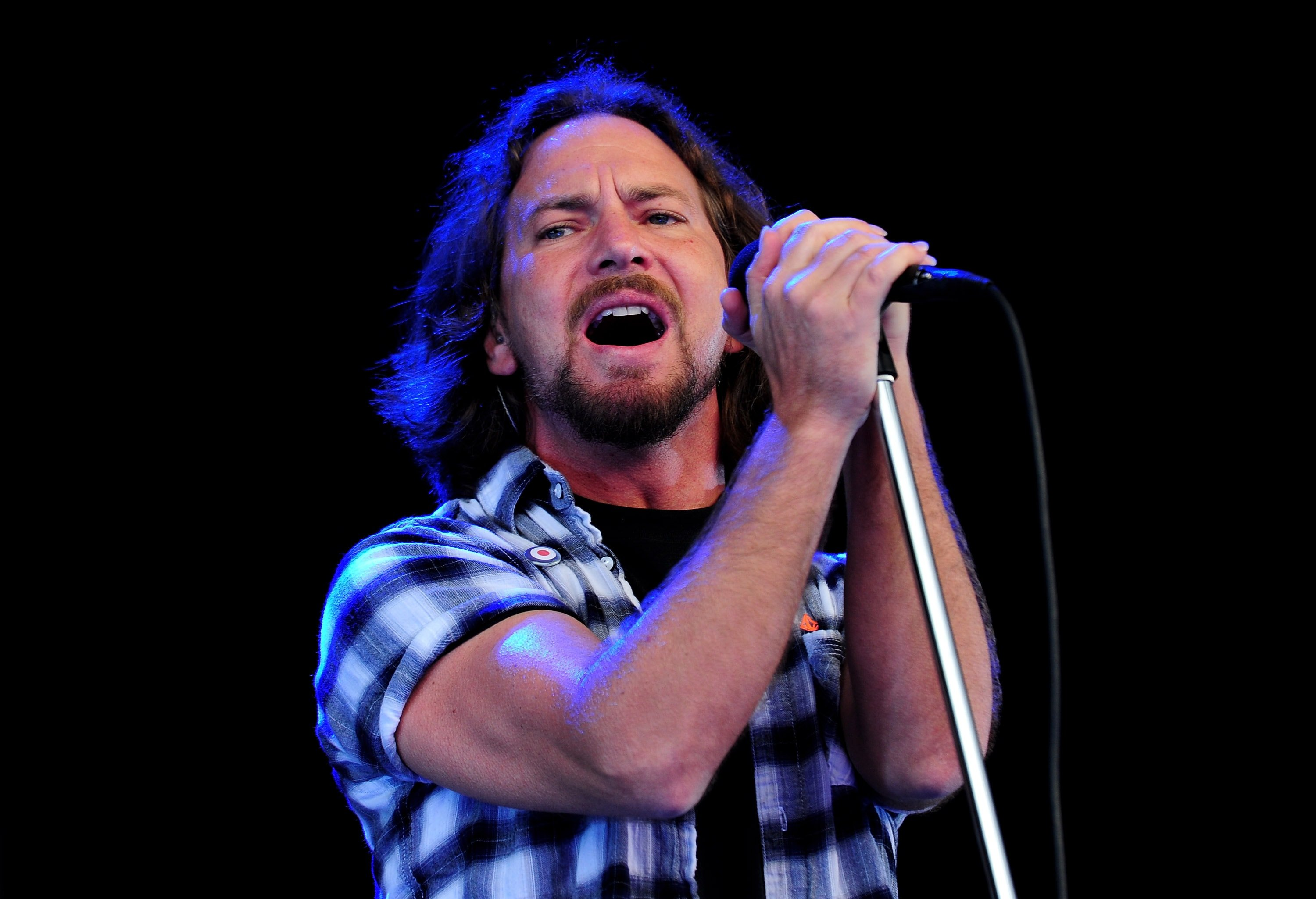 LONDON, ENGLAND - JUNE 25: Eddie Vedder of Pearl Jam performs during day 1 of the Hard Rock Calling festival held in Hyde Park on June 25, 2010 in London, England.