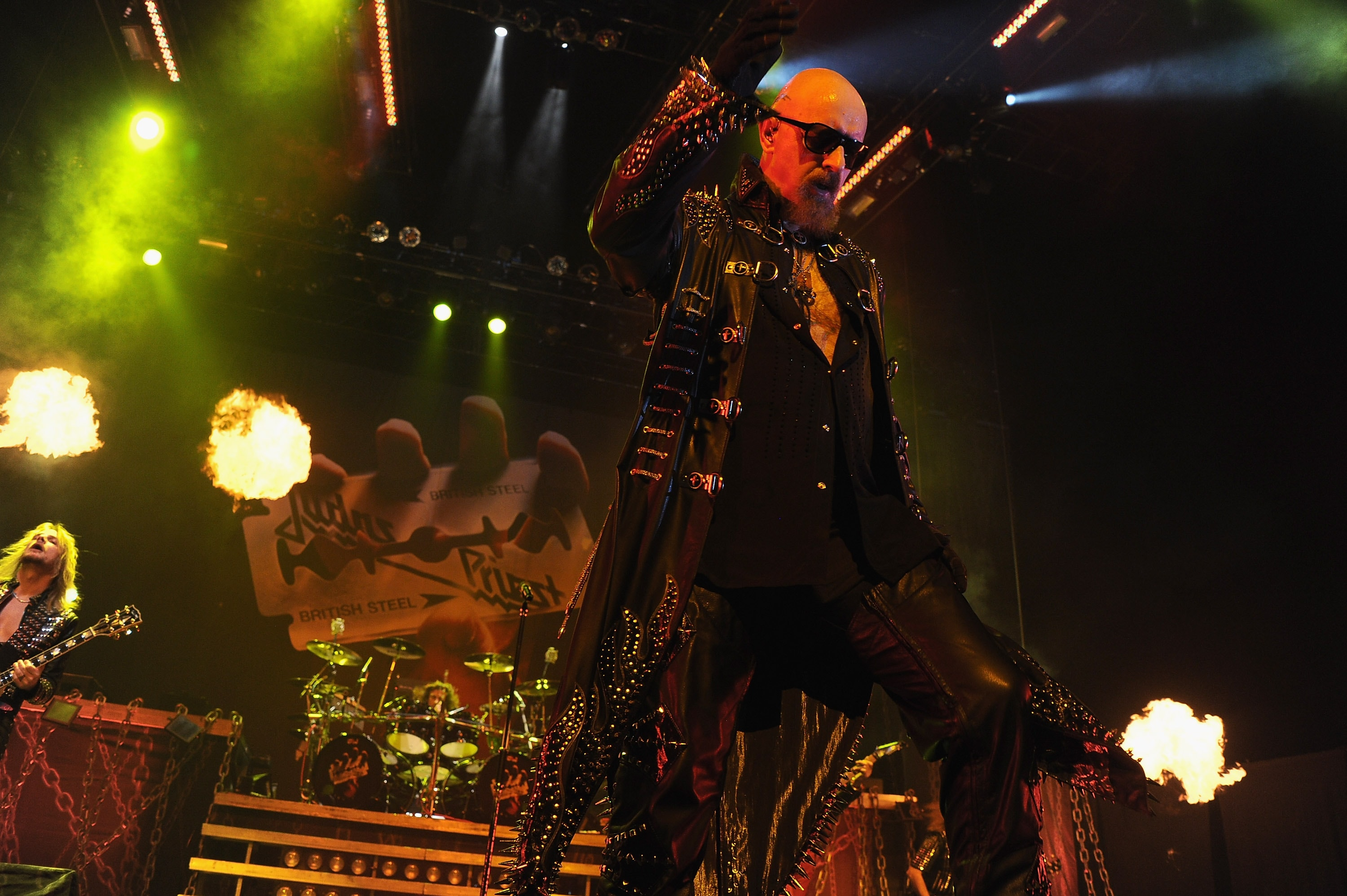 EAST RUTHERFORD, NJ - NOVEMBER 18: Rob Halford of Judas Priest performs at the Izod Center on November 18, 2011 in East Rutherford, New Jersey.