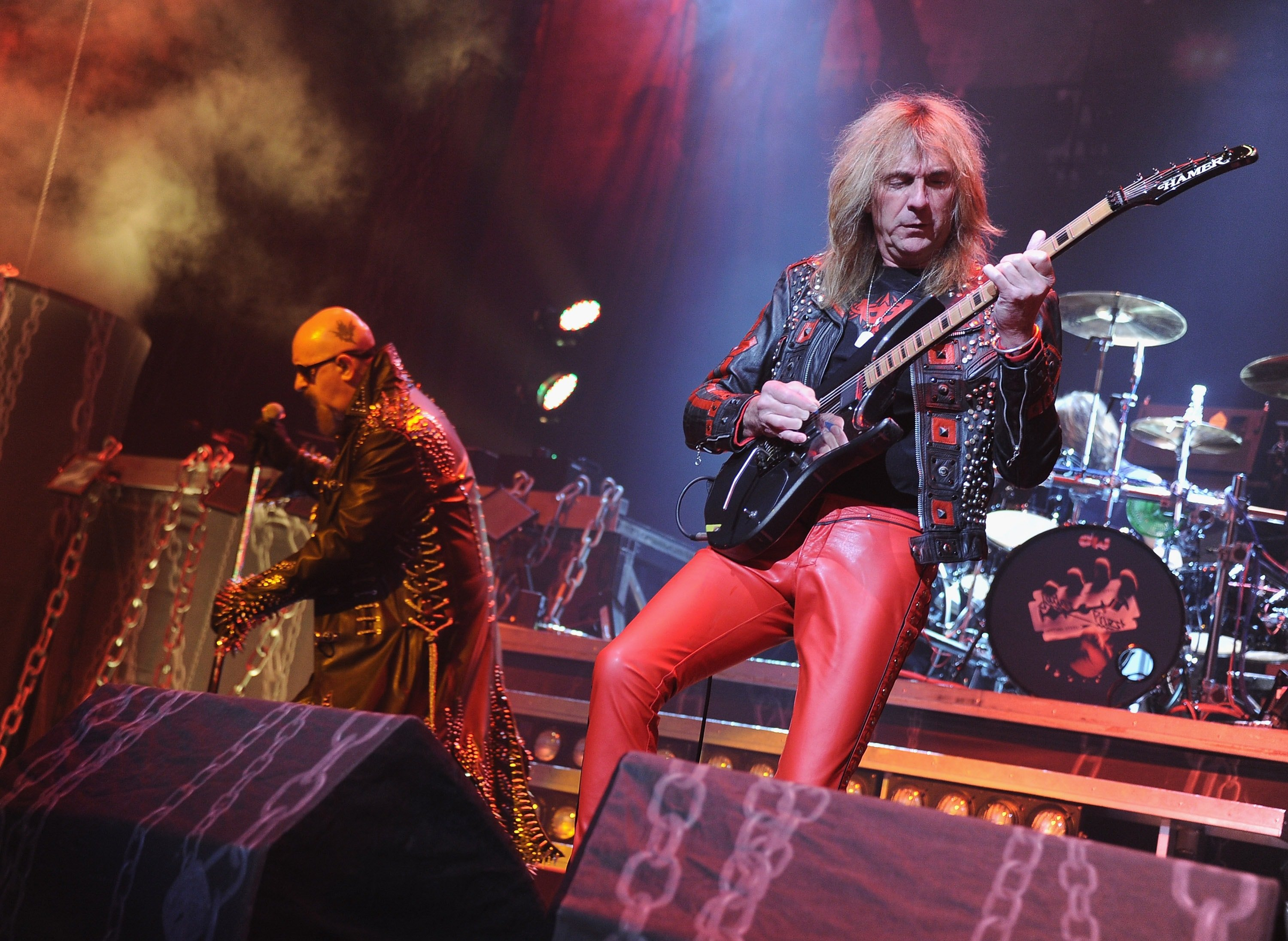 EAST RUTHERFORD, NJ - NOVEMBER 18: Rob Halford and Glenn Tipton of Judas Priest perform at the Izod Center on November 18, 2011 in East Rutherford, New Jersey.