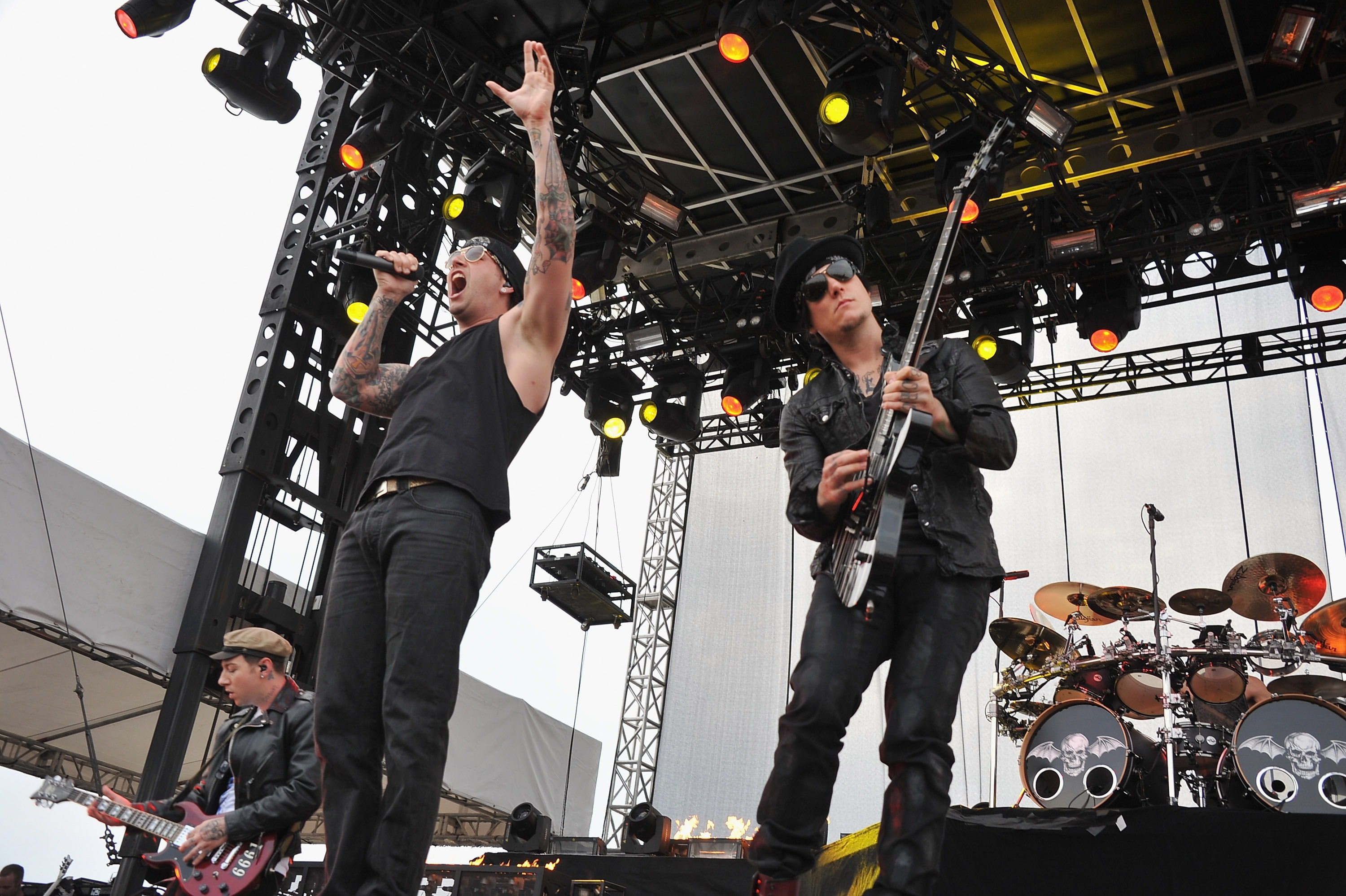 ATLANTIC CITY, NJ - JUNE 24: M. Shadows and Synyster Gates of Avenged Sevenfold perform during the 2012 Orion Music + More Festival at Bader Field on June 24, 2012 in Atlantic City, New Jersey.