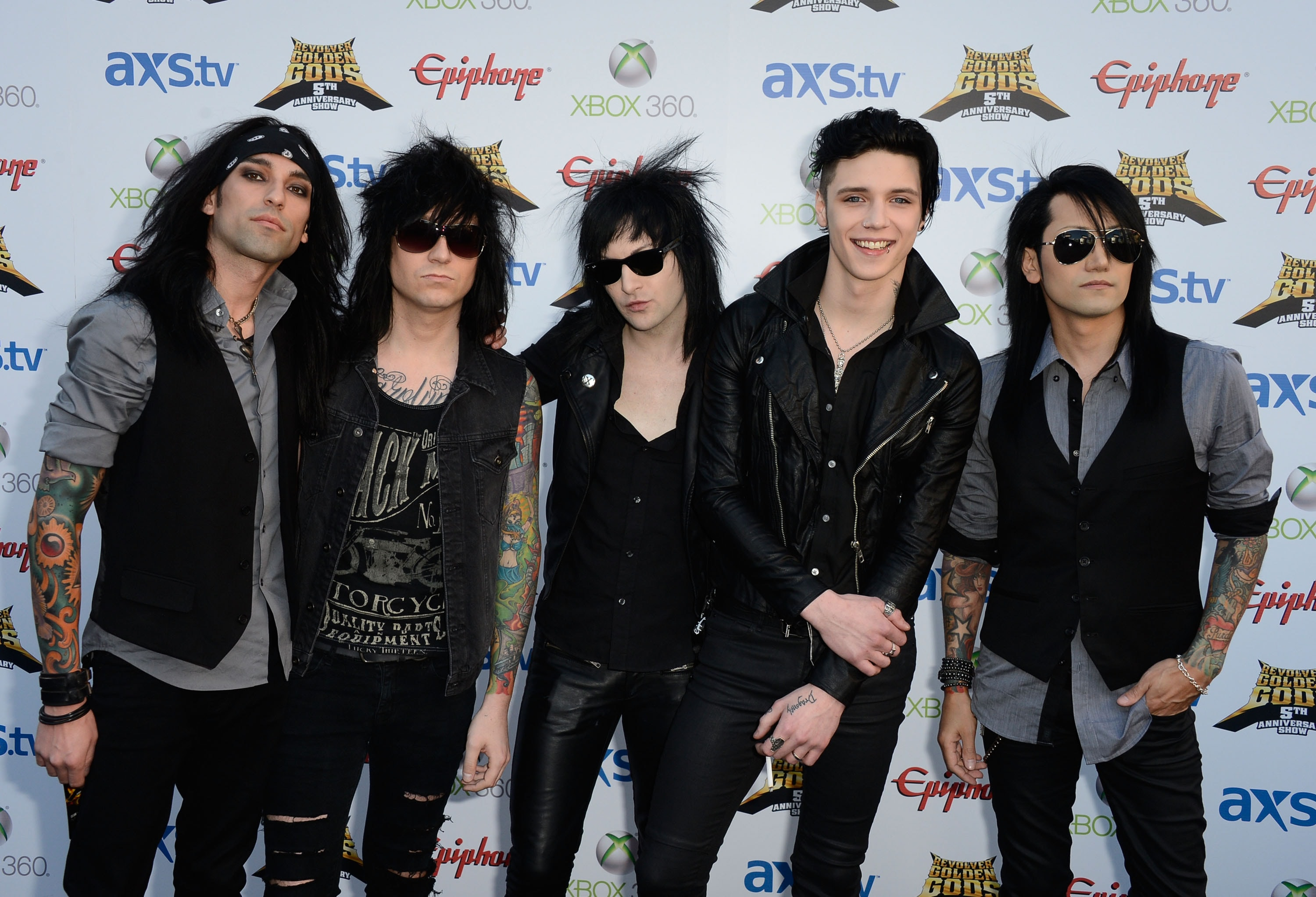 LOS ANGELES, CA - MAY 02: Black Veil Brides arrive at the 5th Annual Revolver Golden Gods Award Show at Club Nokia on May 2, 2013 in Los Angeles, California.