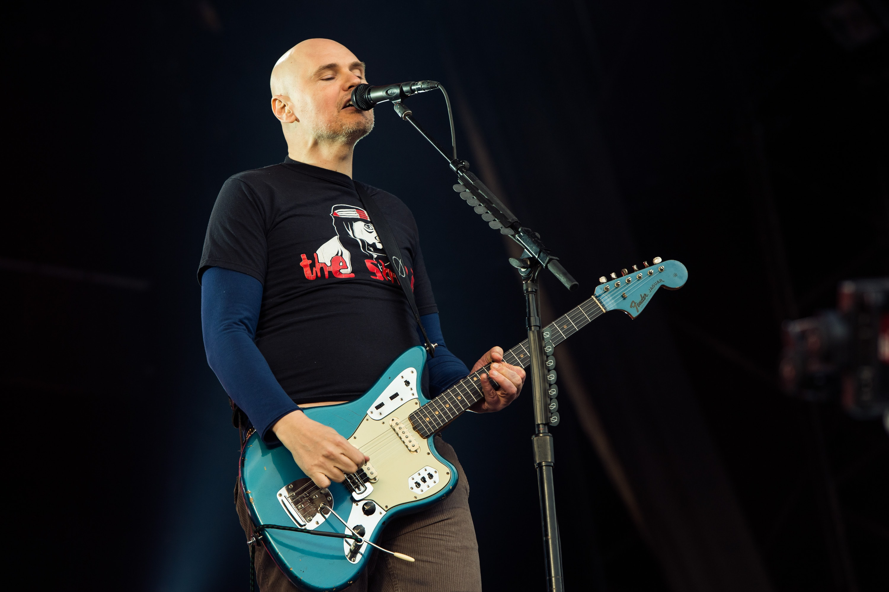 GLASTONBURY, ENGLAND - JUNE 30: Billy Corgan of the Smashing Pumpkins performs on the Other Stage during day 4 of the 2013 Glastonbury Festival at Worthy Farm on June 29, 2013 in Glastonbury, England.