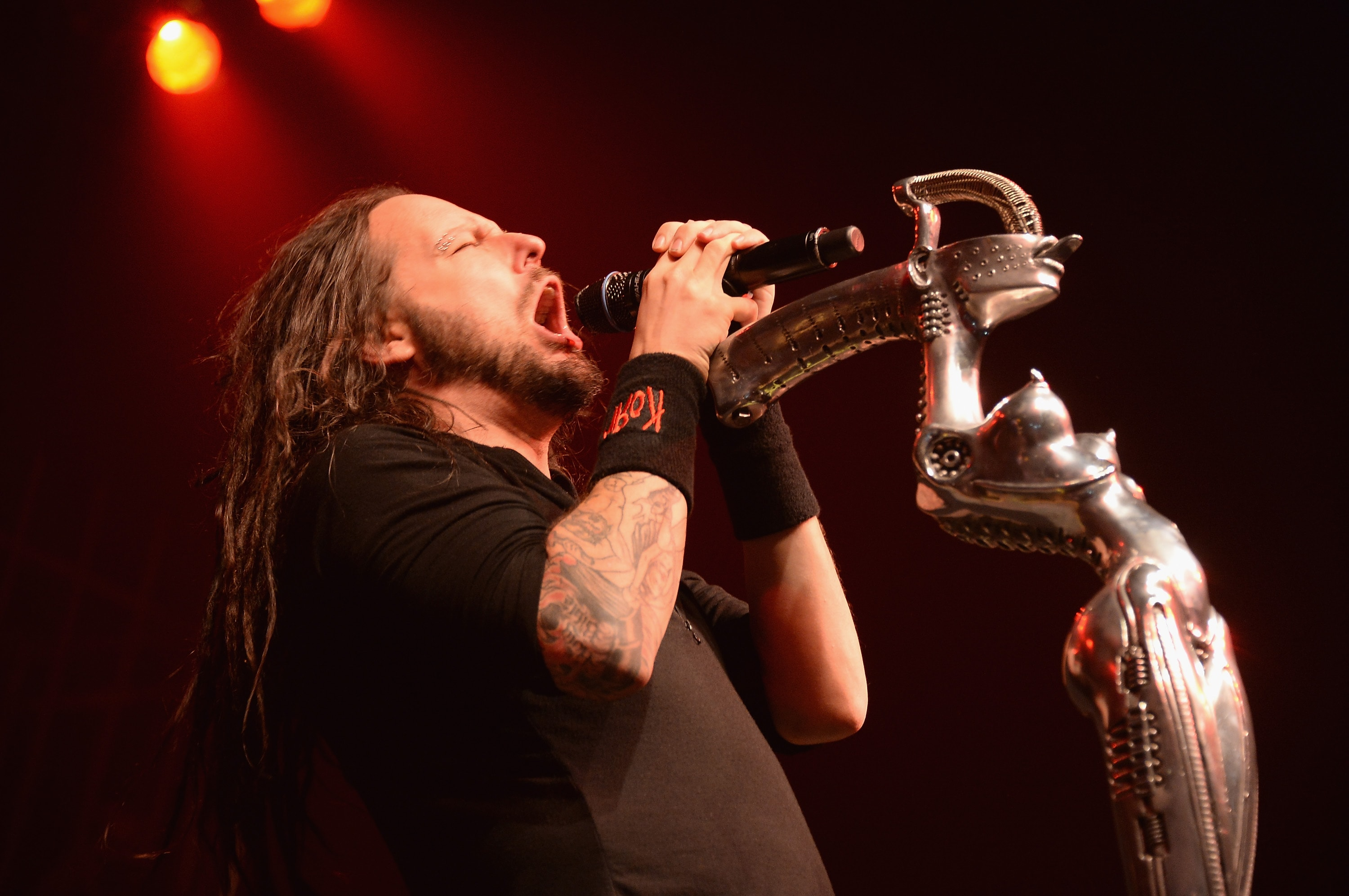 NEW YORK, NY - SEPTEMBER 27: Jonathan David of Korn performs at Roseland Ballroom on September 27, 2013 in New York City.