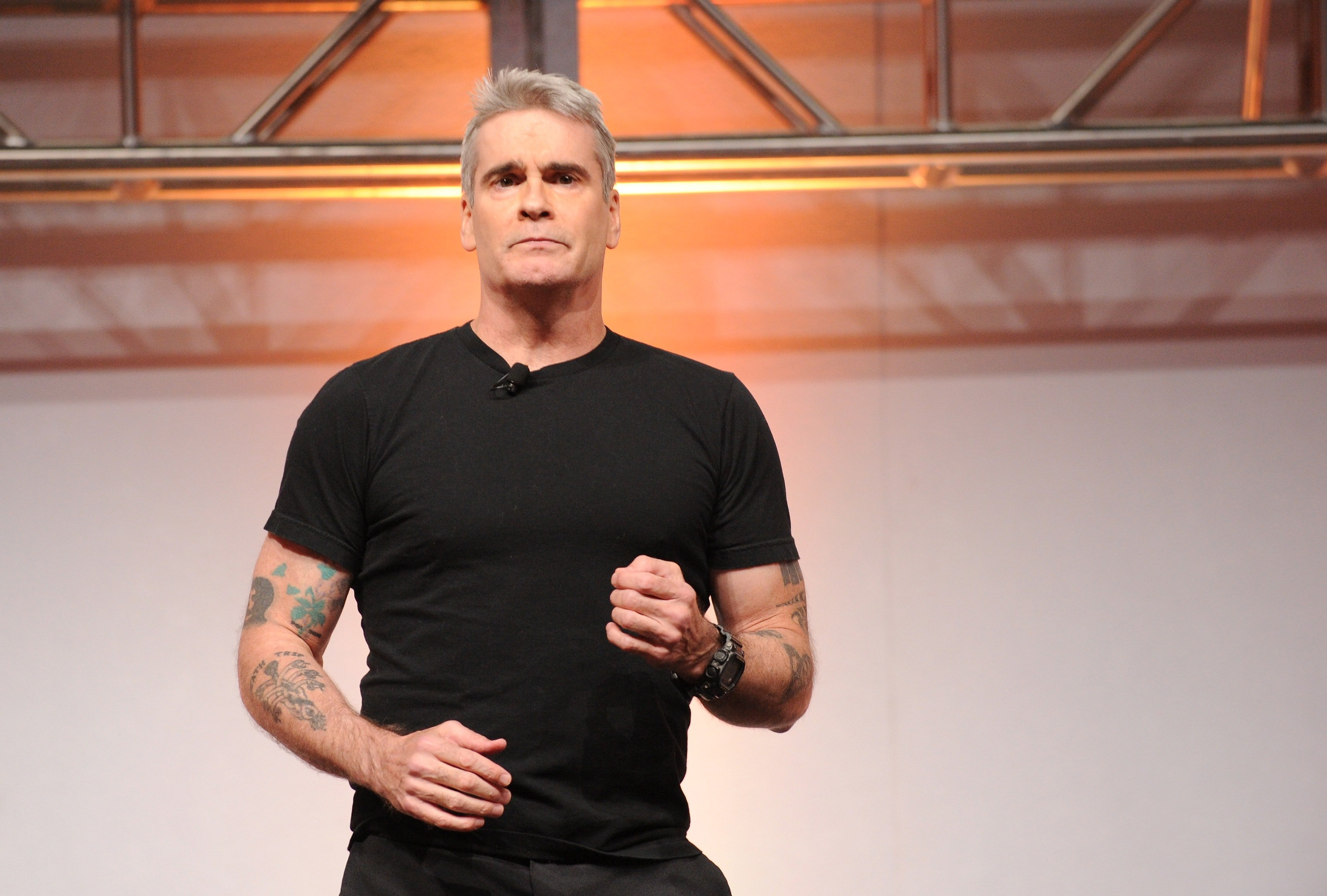 NEW YORK, NY - MAY 08: Henry Rollins speaks onstage at the 2014 A+E Networks Upfront on May 8, 2014 in New York City.