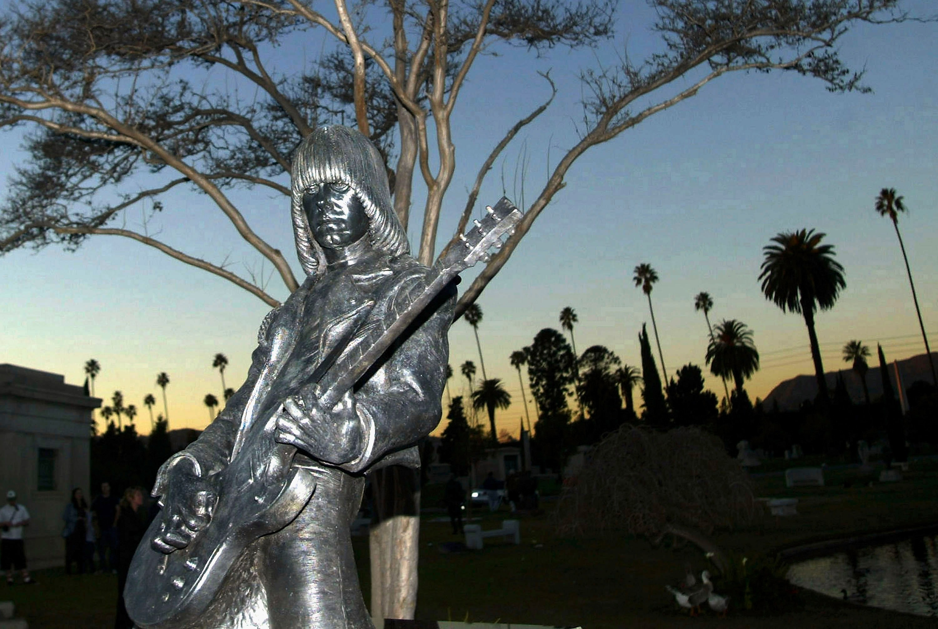LOS ANGELES - JANUARY 14: A statue in memory of Johnny Ramone stands at the Hollywood Forever Cemetery on January 14, 2005, in Hollywood, California.